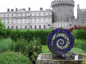 Dublin Castle with Spiral Sculpture